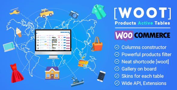 WOOT - Tabla de productos activos de WooCommerce